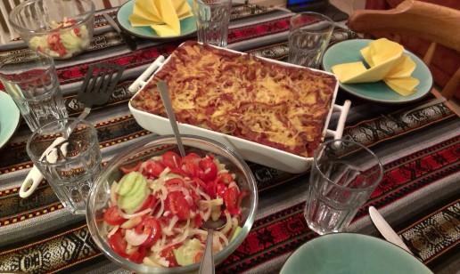 lasagne and salad
